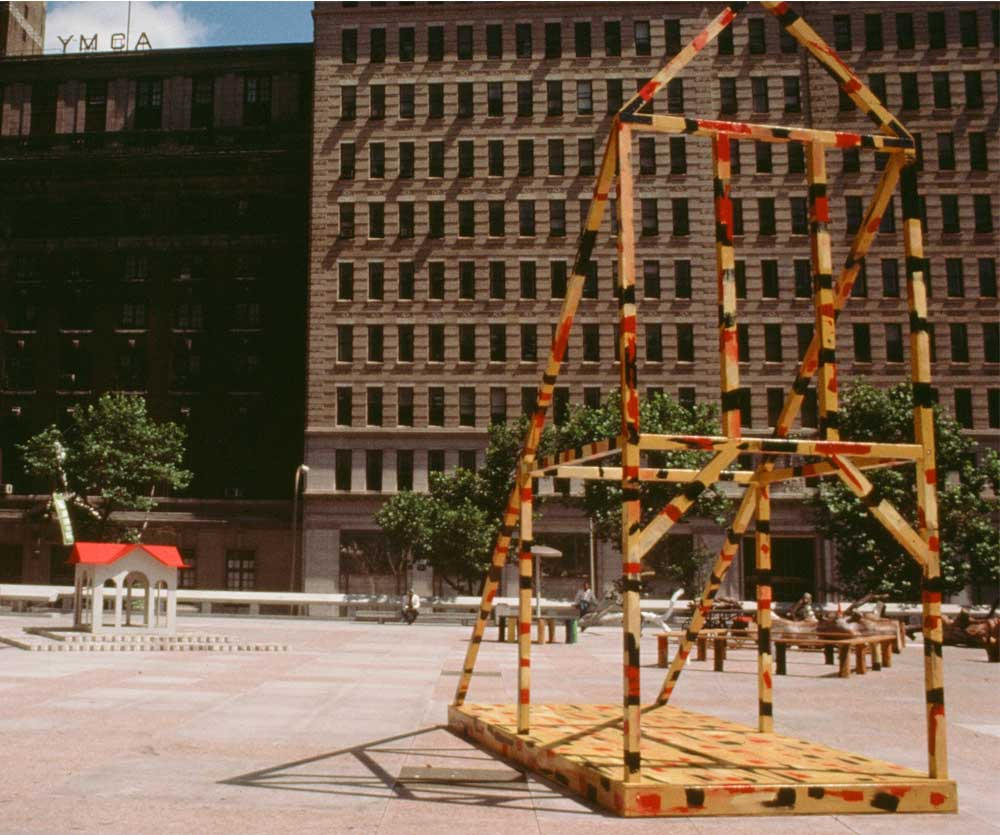 Insites     '85  , MSB Plaza, Philadelphia (From a collaboration by three invited artists; wood, acrylic, cement block, natural forms, found objects); 1985