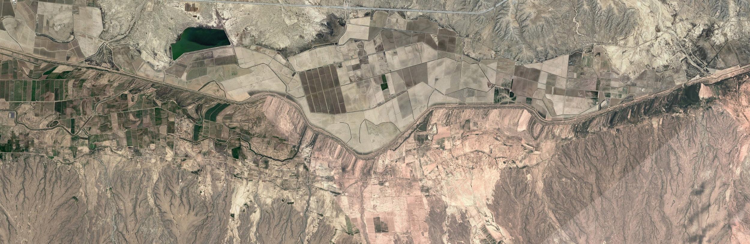 "Mile 737 – 752, Mexico/U.S. Border (Redacted)  , 2017 Google Earth screenshots, inkjet pigment print, 42 x 138"""