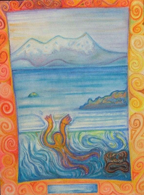Regan O'Callaghan Taupo, Horomatangi, New Zealand, pastel, maori myth, taniwha