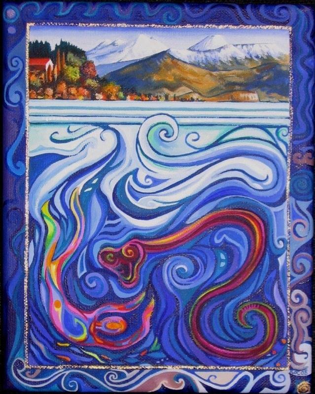 Regan O'Callaghan 'Horomatangi' acrylic painting, taniwha, Lake Taupo, Mount Ruapehu, Mount Tongariro,