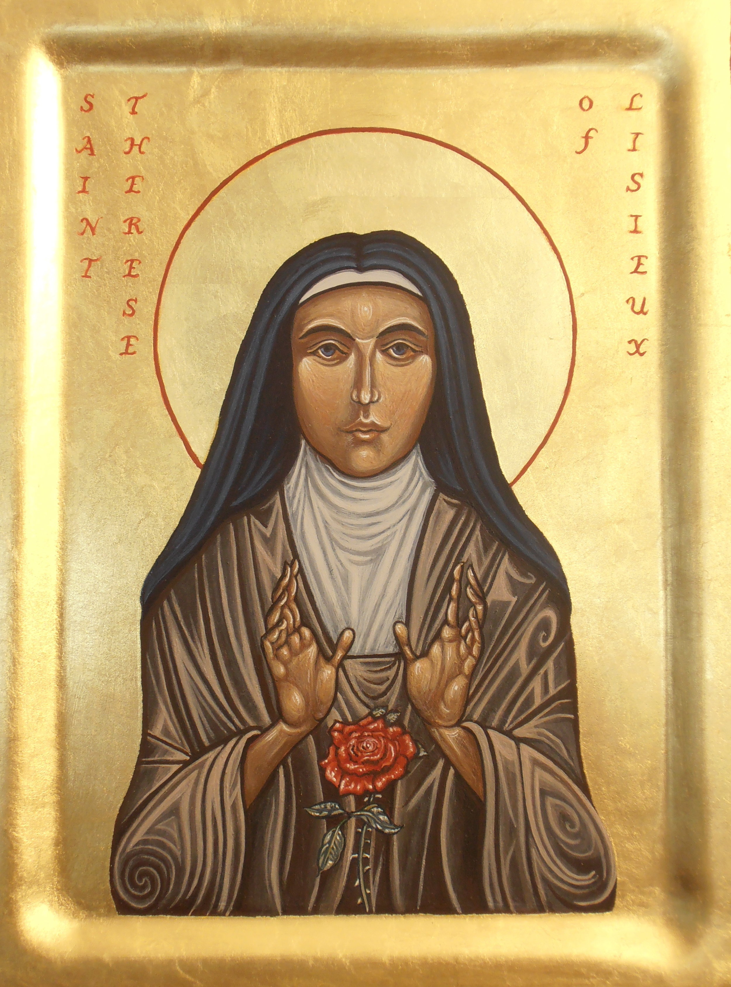 St. Therese of Lisieux. Tempera and gold leaf on gesso panel. 21.6 cm x 27.9 cm. 2014
