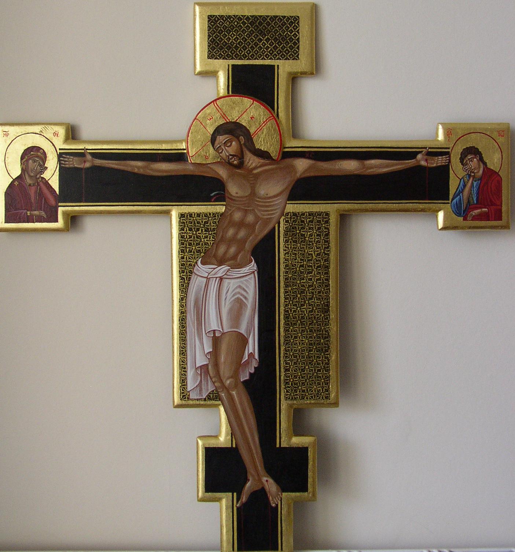 Processional Cross.  Tempera on gesso panel.  55 cm x 59 cm.  2010
