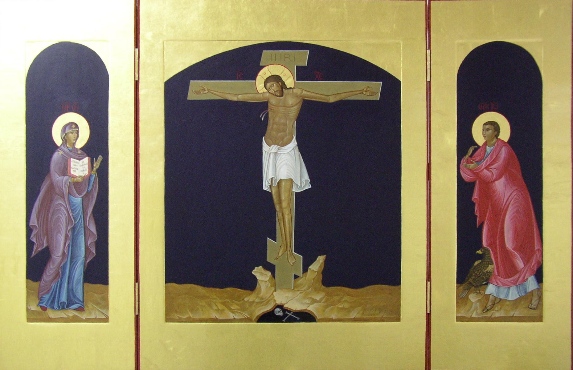 Crucifixion Triptych.  Tempera, gold leaf on gessoed panels 93 cm x 142 cm.  Nottingham University Catholic Chaplaincy.  2010