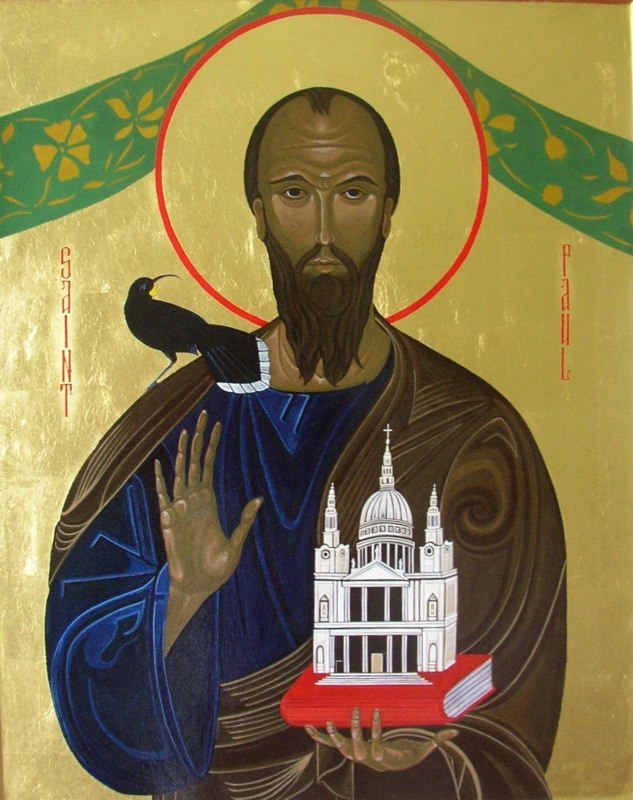 Saint Paul and the Huia. Tempera on gesso panel. 65 cm x 80 cm. St Paul's Cathedral London. 2008
