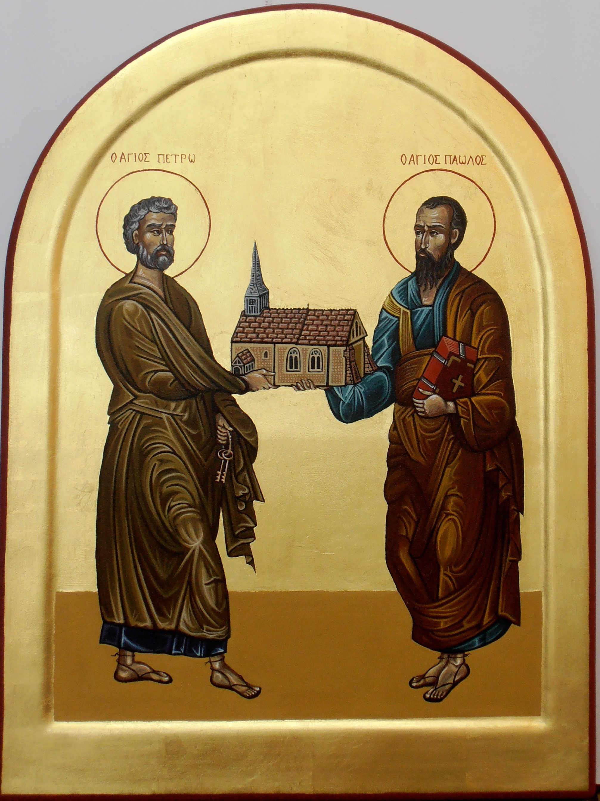 Saint Peter and Saint Paul.  Tempera and Gold leaf on gesso panel. 30 cm x 40 cm. 2013