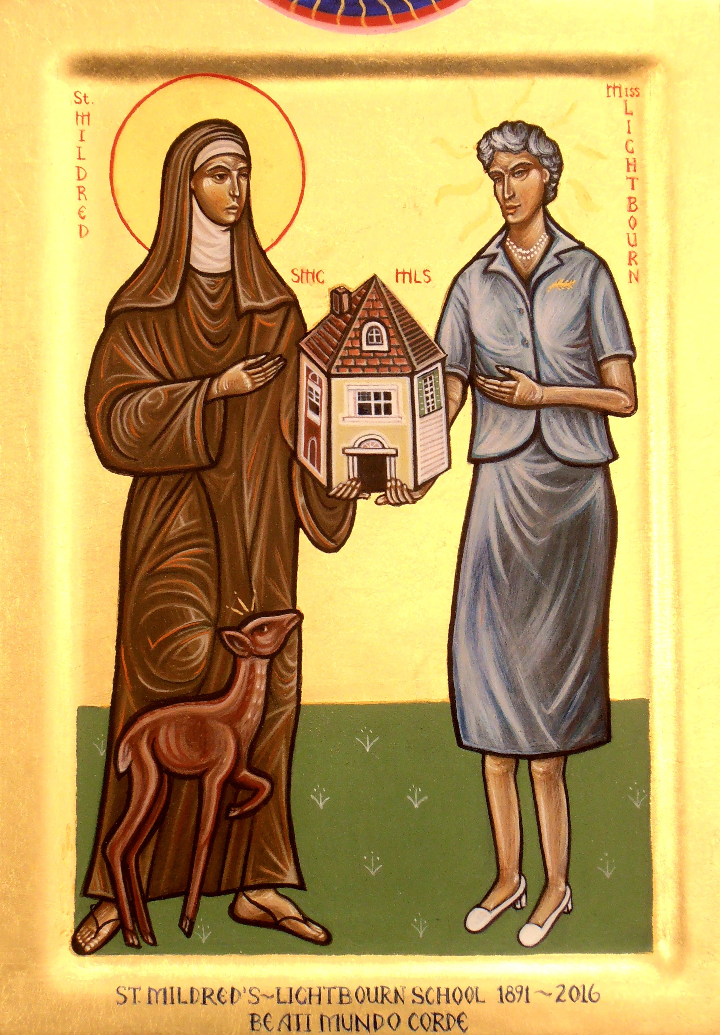 Saint Mildred and Miss Lightbourn. Tempera and gold leaf on gesso panel. 21cm x 29cm.  Sisters of the Order of the Church, Ontario. 2016.
