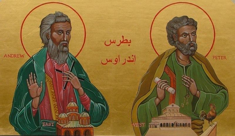 Saint Andrew & Saint Peter.  Tempera on gesso panel. 50 cm x 77 cm. Church of the Sermon on the Mount, Ibilin. Israel. 2005