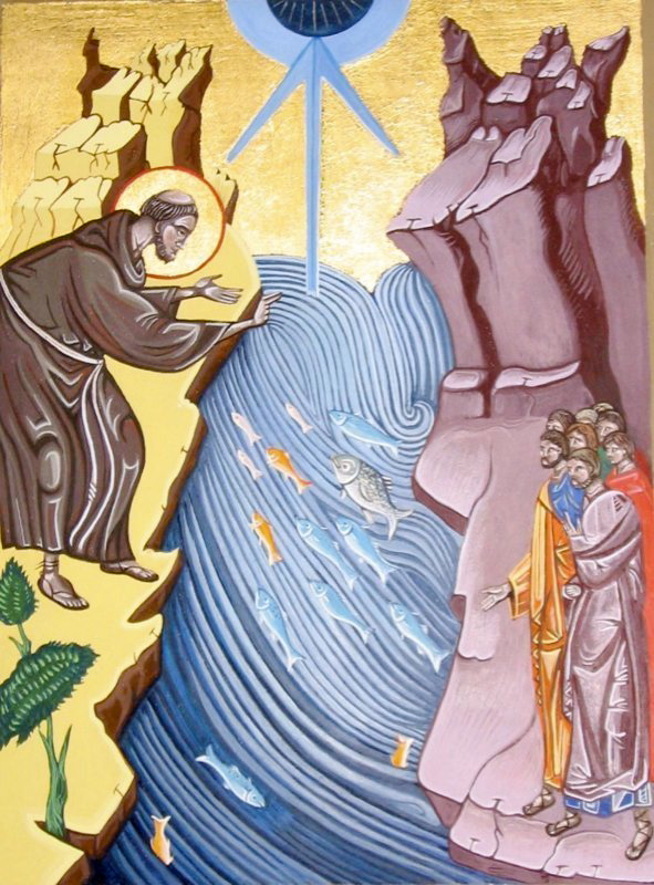 Saint Anthony Preaching to the fish.  Tempera and gold leaf on gesso panel. 21cm x 28 cm. 2005