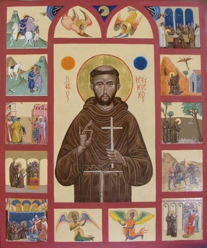 Saint Francis with scenes from his life. Tempera on gesso panel with gold leaf.  50 cm x 60 cm. 2006