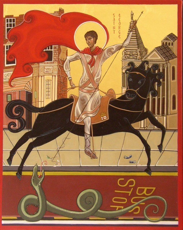 Saint George and the Dragon. Tempera on gesso panel.  40 cm x 50 cm.  St George's Church Bloomsbury, London. 2009