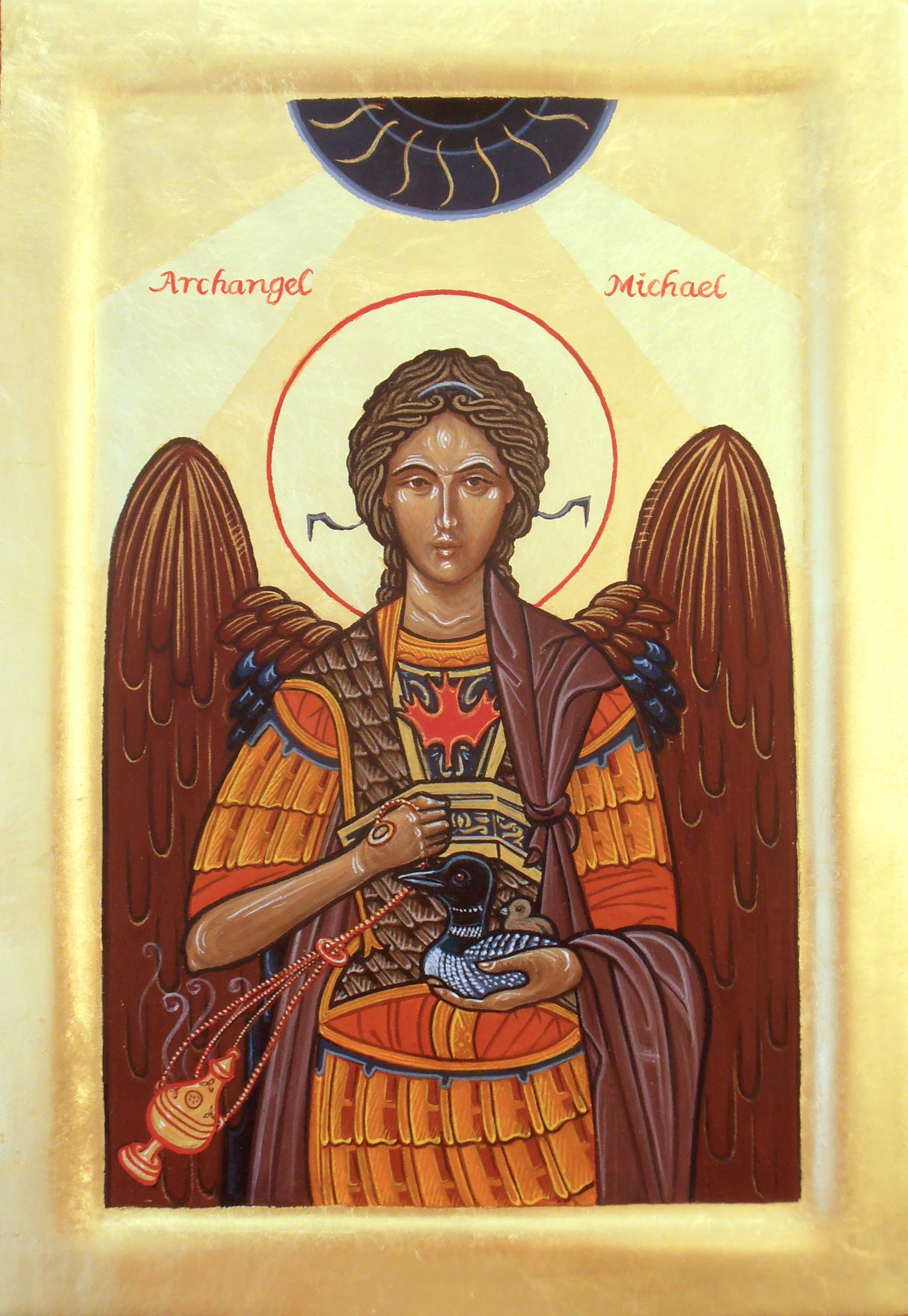 Archangel Michael and a Loon. Tempera and gold leaf on gesso panel.  21cm x 29cm.  Sister's of the Order of the Church.  2015