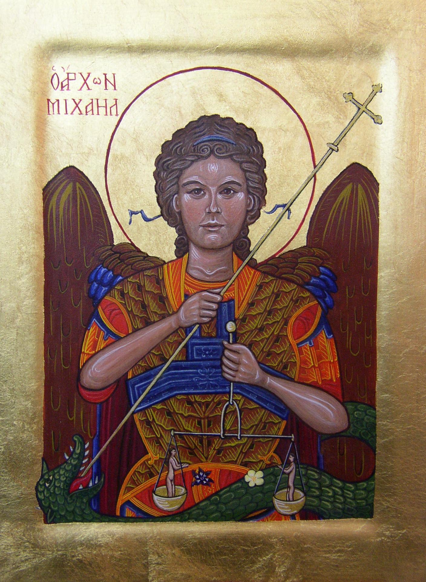 Archangel Michael. Tempera and gold leaf on gesso panel. 30 cm x 33 cm.  2011.