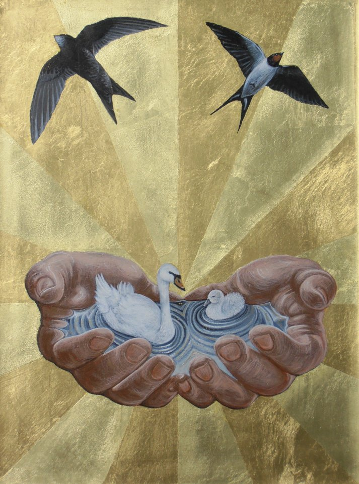 Nurture. Gold leaf and tempera on gesso panel. 32 cm x 40 cm. Wilcox Nursery, London.  2014.