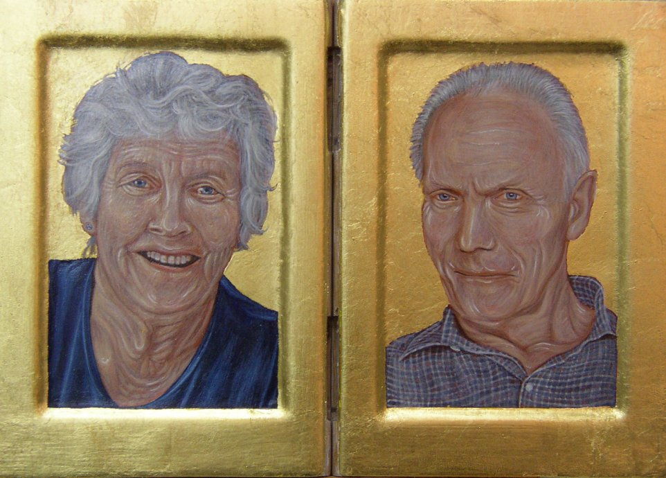 Mary & Brian. Diptych. Tempera and gold leaf on gesso panels.  24 cm x 17.5 cm. 2011
