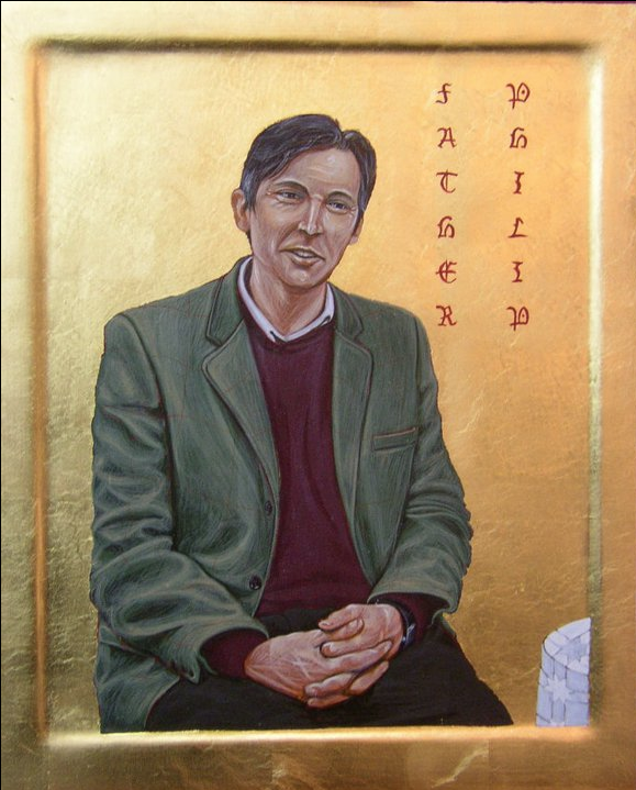 Father Philip. Tempera and Gold Leaf on gesso panel. 25 cm x 30 cm. 2011