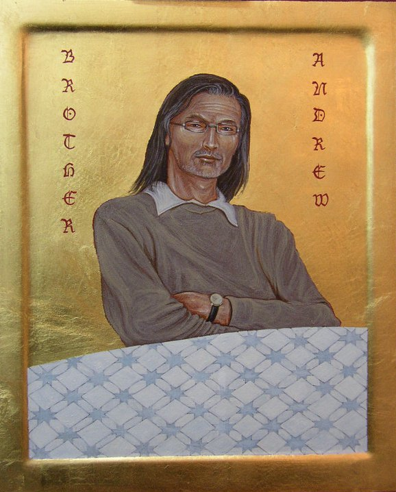 Brother Andrew. Tempera and Gold Leaf on gesso panel.  25 cm x 30 cm. 2011.