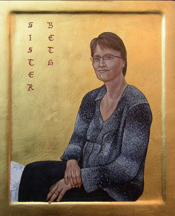 Sister Beth. Tempera and  Gold Leaf on gesso panel. 25 cm x 30 cm. 2011.