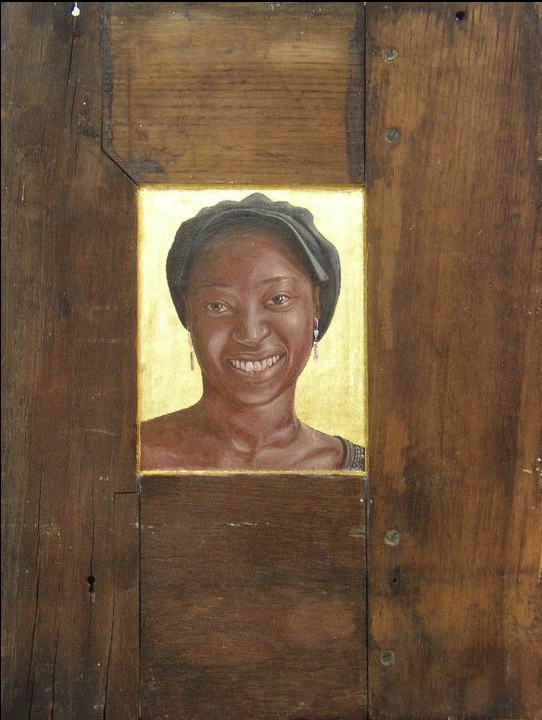 Lizzie. Tempera and gold leaf on oak cupboard door.  40 cm x 53 cm . 2010.