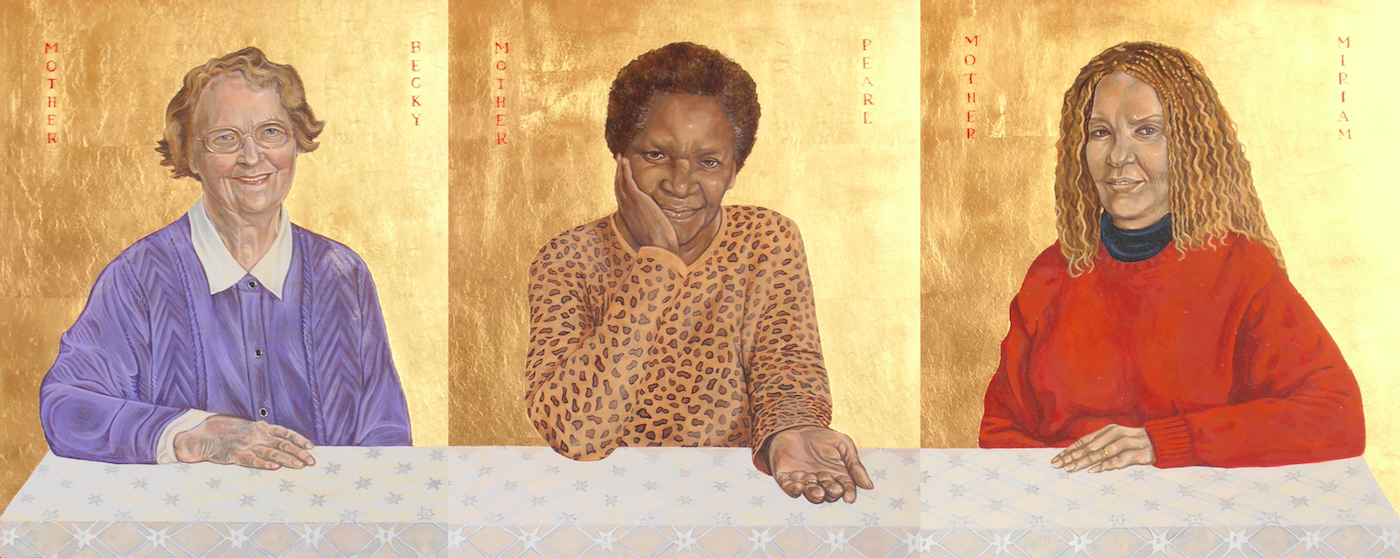 3 Mothers. Tempera and gold leaf on gesso panels. 35 cm x 40 cm (each panel). Commissioned by the Bishop of London. 2007.