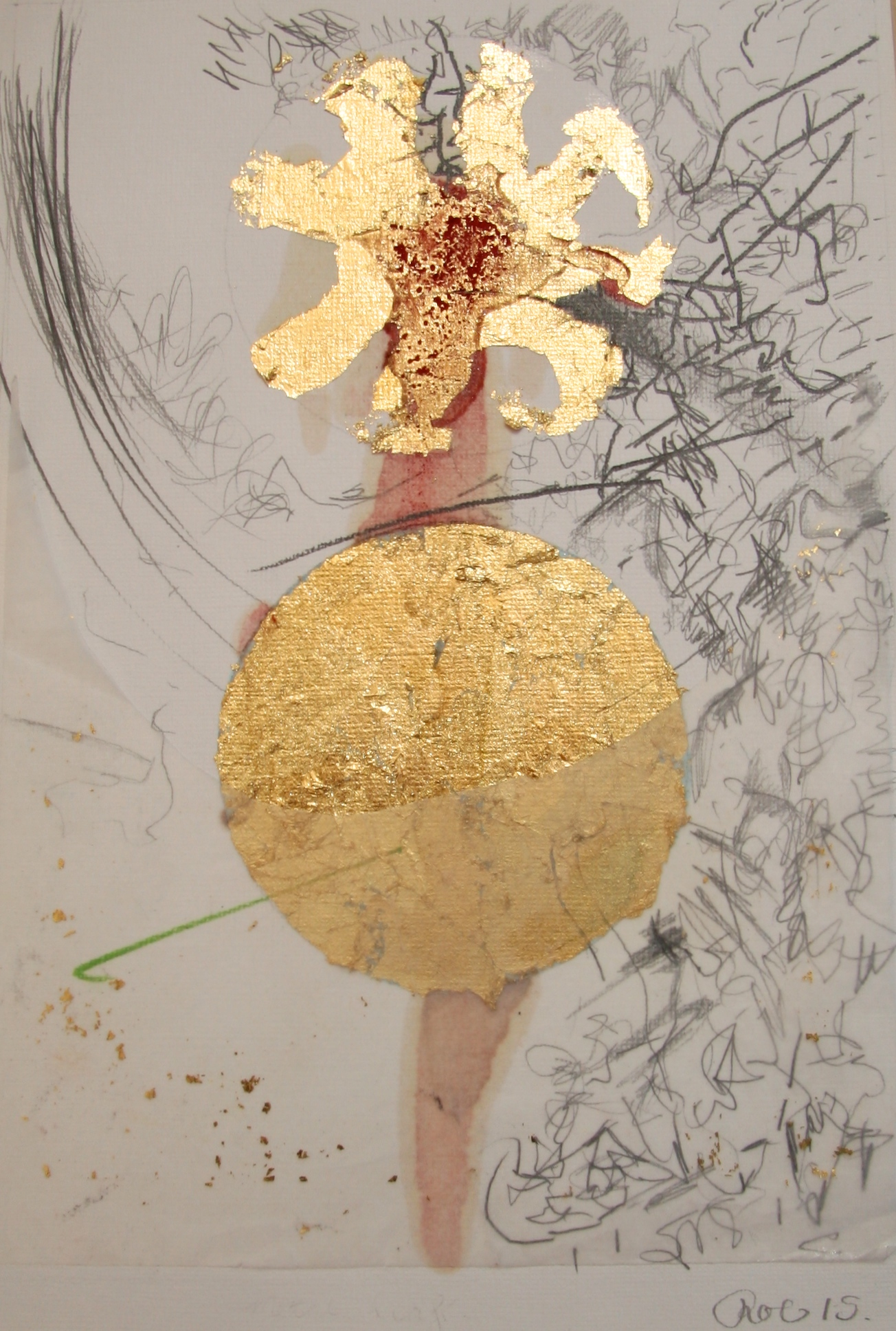 Gold and metal leaf, Tinted shellac and mixed media on paper. 210 x 297mm 2015.