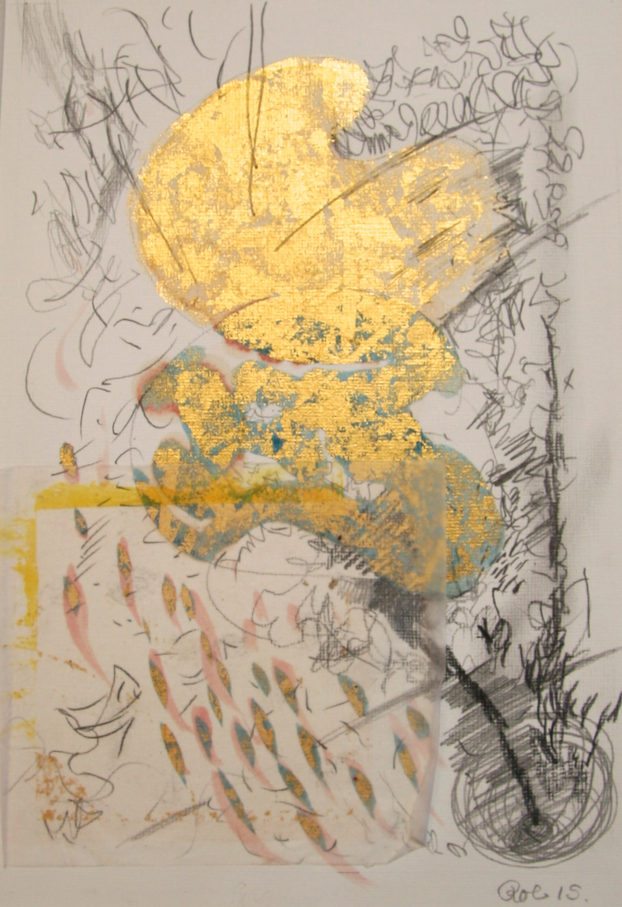 Gold and metal leaf, Tinted shellac and mixed media on paper 210 x 297mm. 2015.