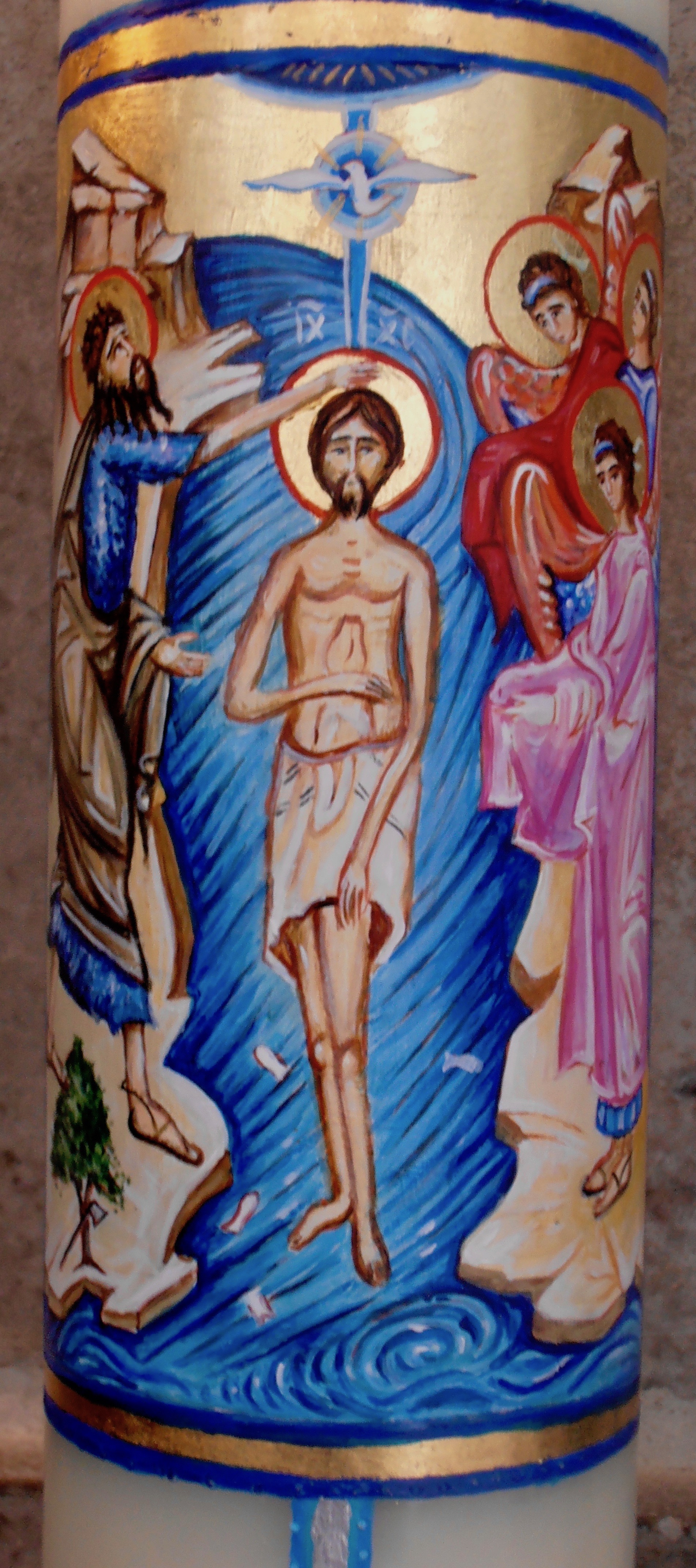Paschal Candle Saint Paul's Cathedral, London 2017. Detail Of the Baptism of Jesus.