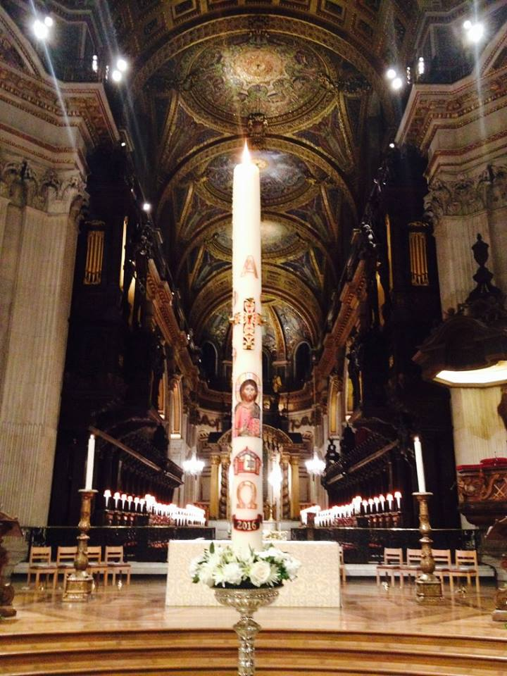 Paschal Candle Saint Paul's Cathedral, London 2016.  Featuring, Hinemihi and endangered shorebirds of Aotearoa, New Zealand.