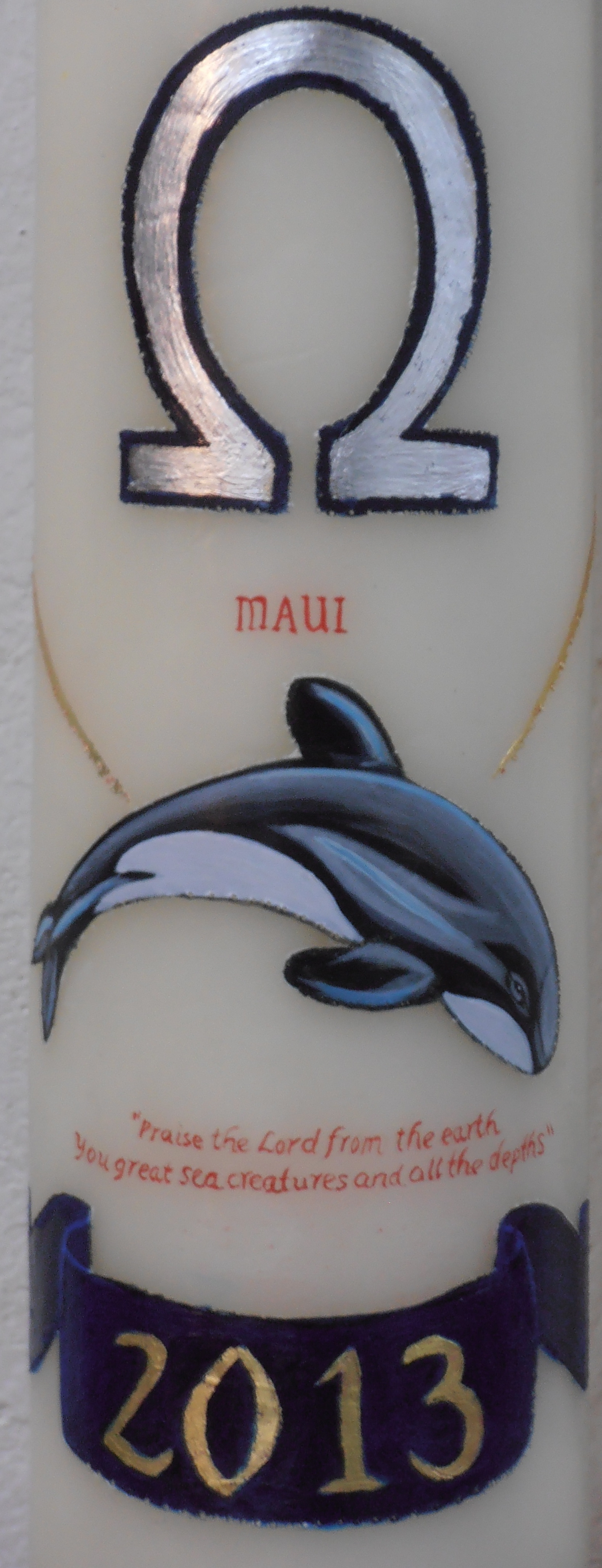 Paschal Candle. Saint Paul's Cathedral, London 2013.  Detail of Maui Dolphin.