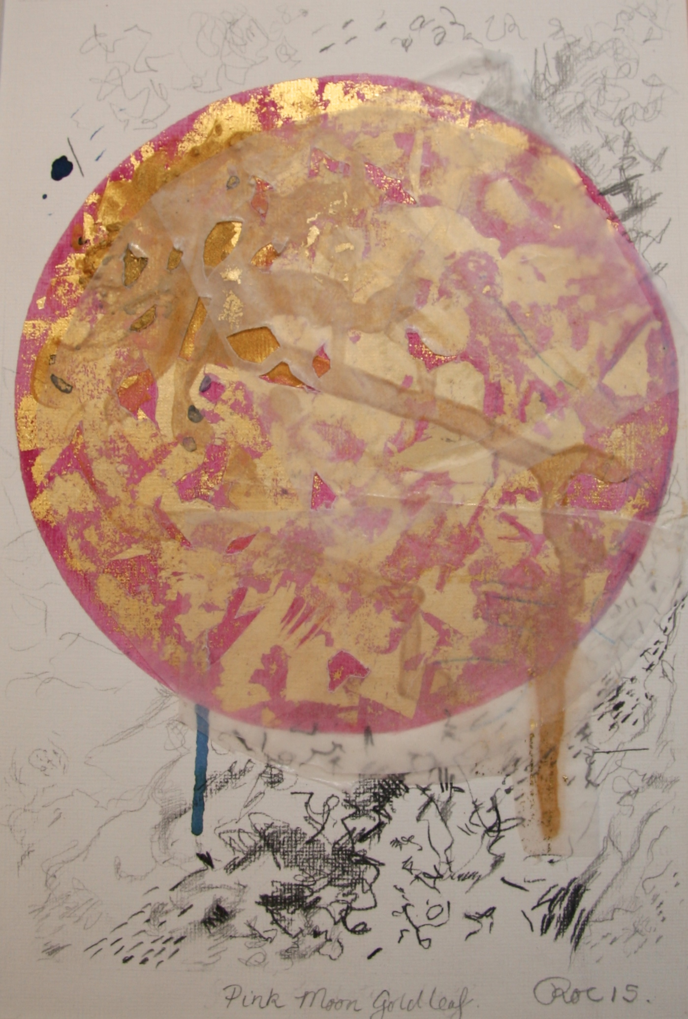 Pink Moon.  Gold Leaf Gold and metal leaf, Tinted shellac and mixed media on paper. 210 x 297mm. 2015.