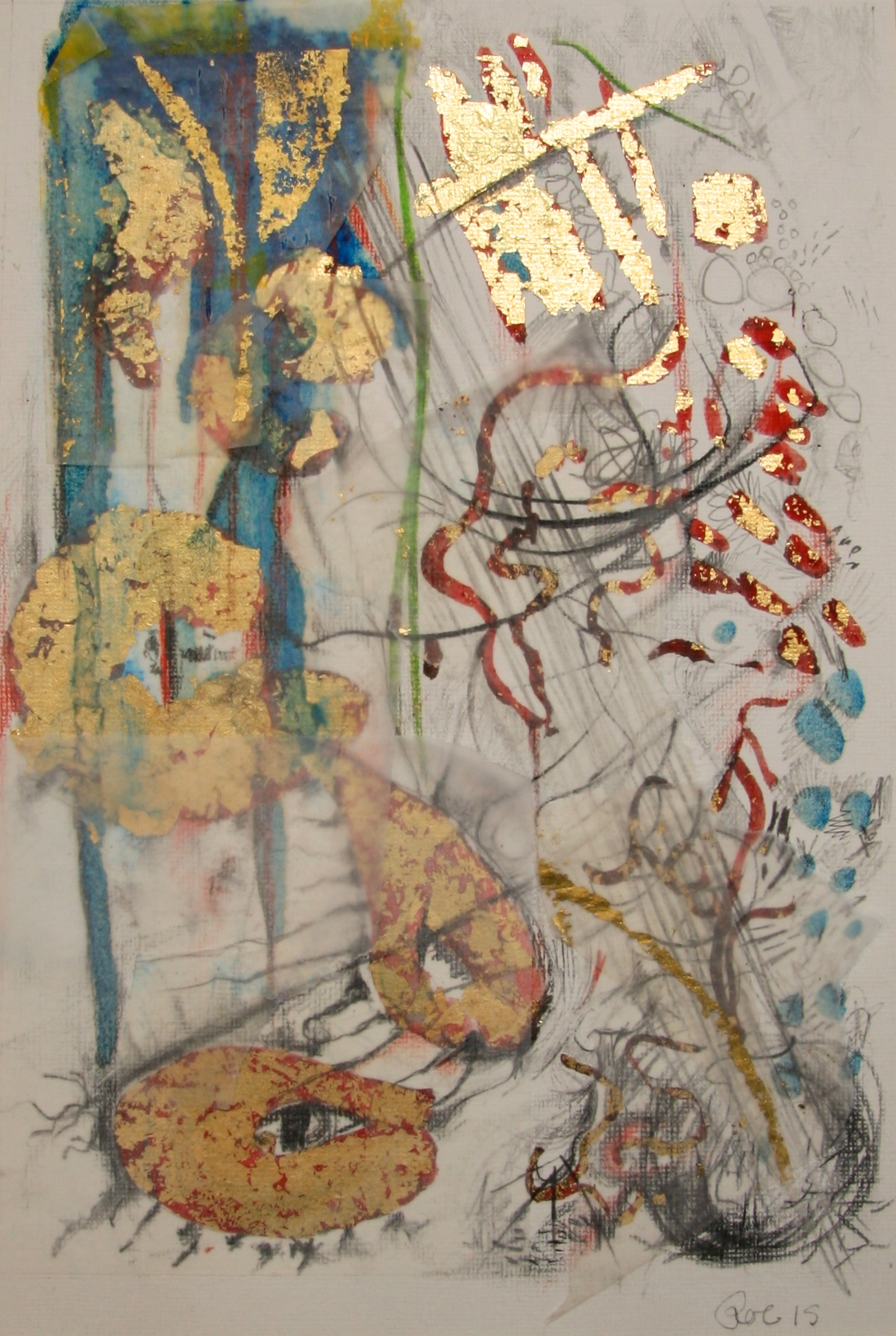 Gold and metal leaf, Tinted shellac and mixed media on paper. 210 x 297mm. 2015.