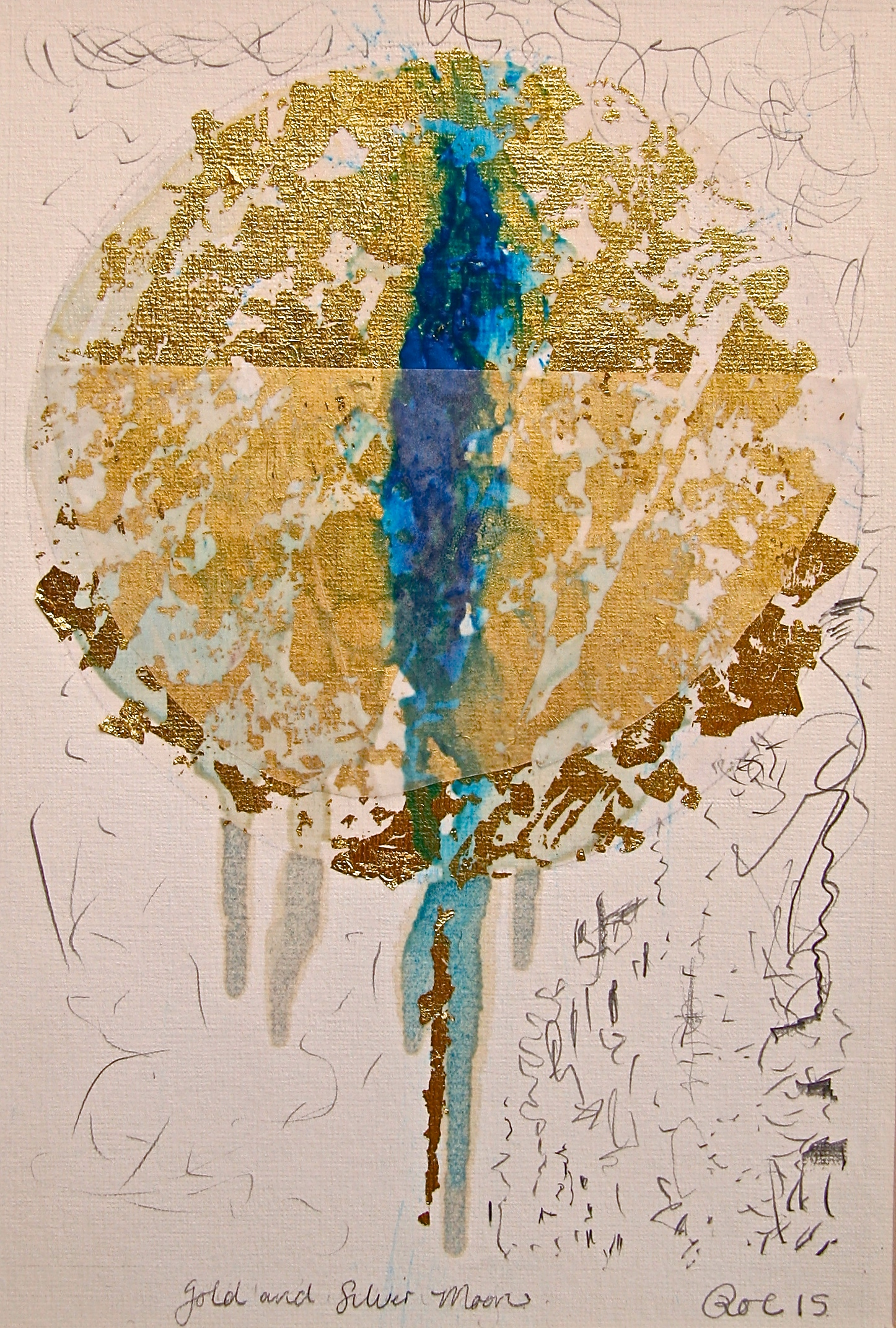 Gold and Silver Moon. Gold and metal leaf, Tinted shellac and mixed media on paper. 210 x 297mm. 2015.
