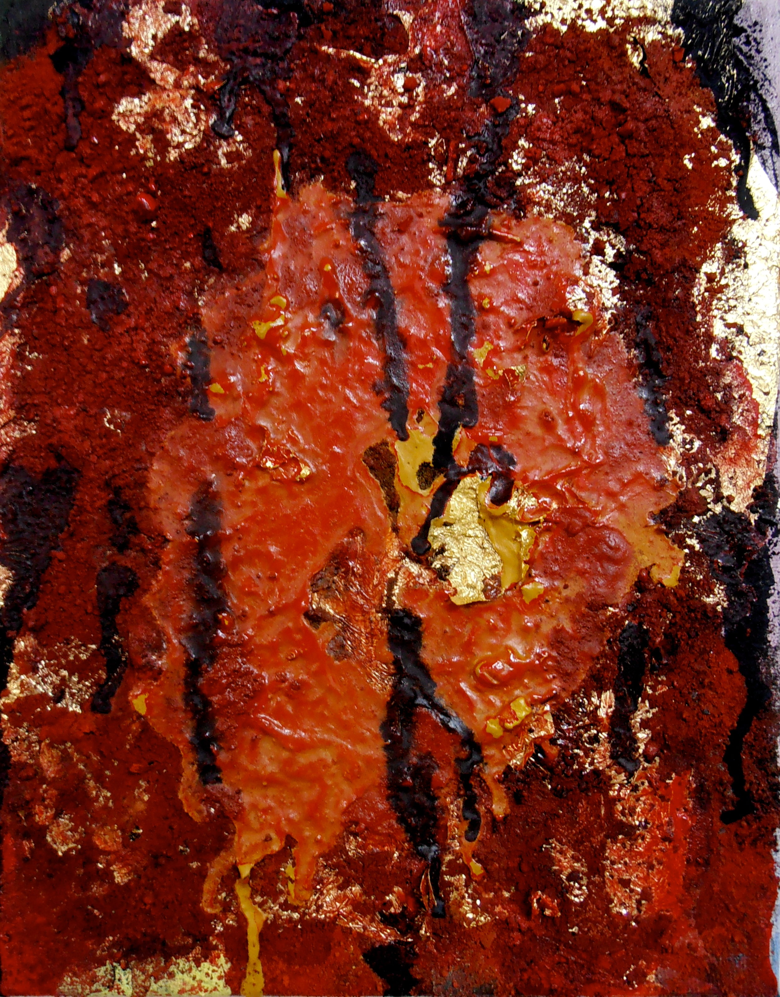 Gold leaf and pigment on canvas. 148 x 210 mm. 2014.