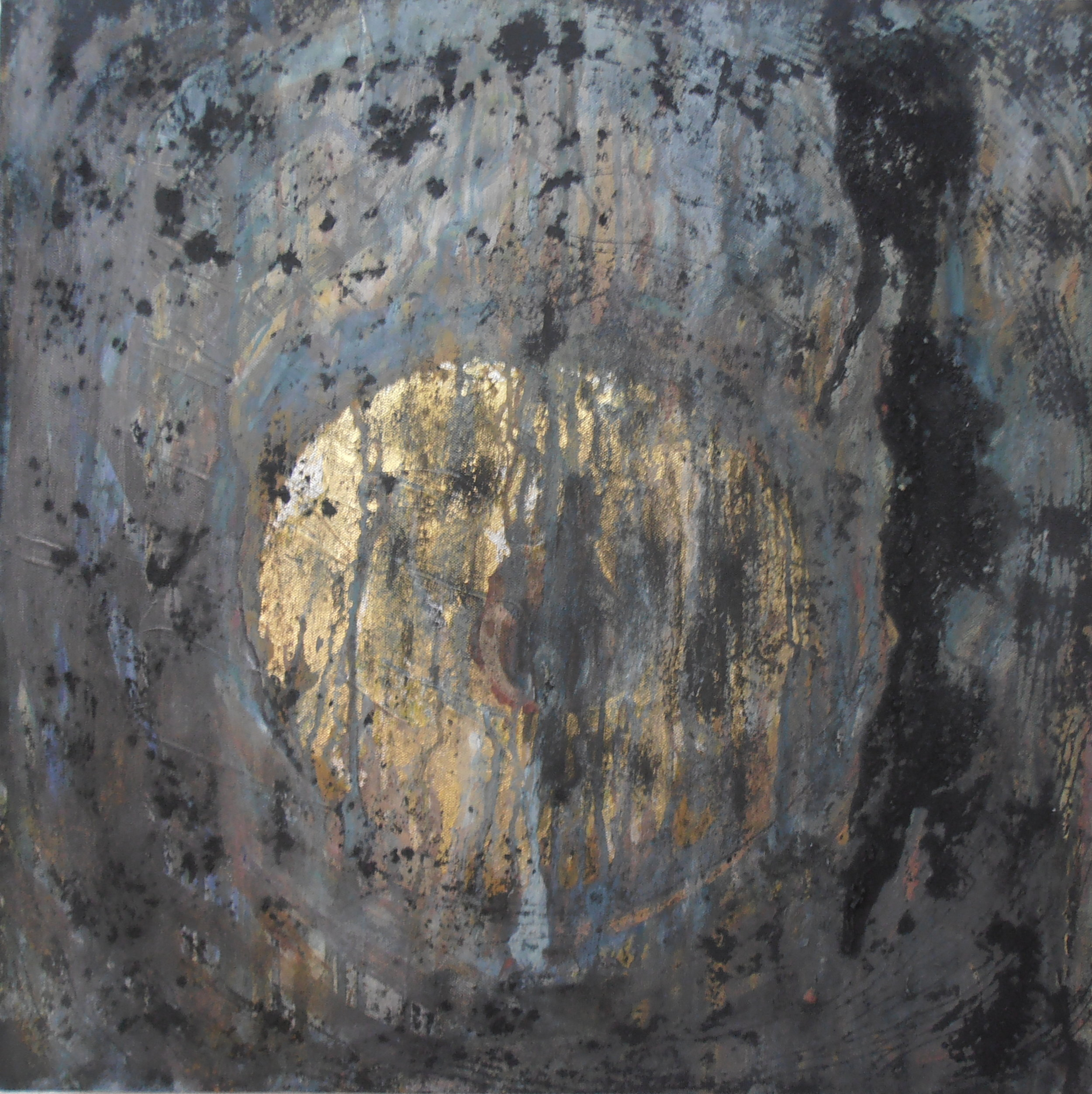 Hinemihi. Gold leaf, charcoal and pigment on canvas. 80 x 80 cm. 2014.