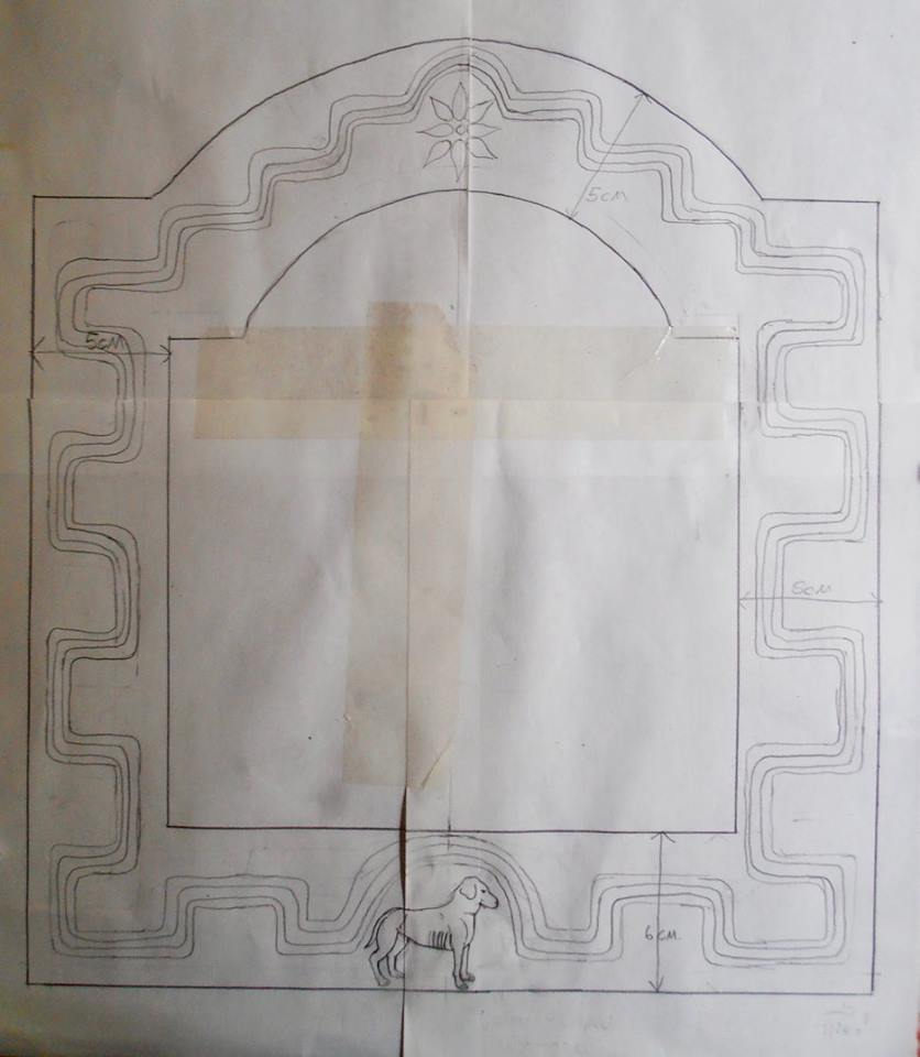 Design for the frame for the icon of San Roque.