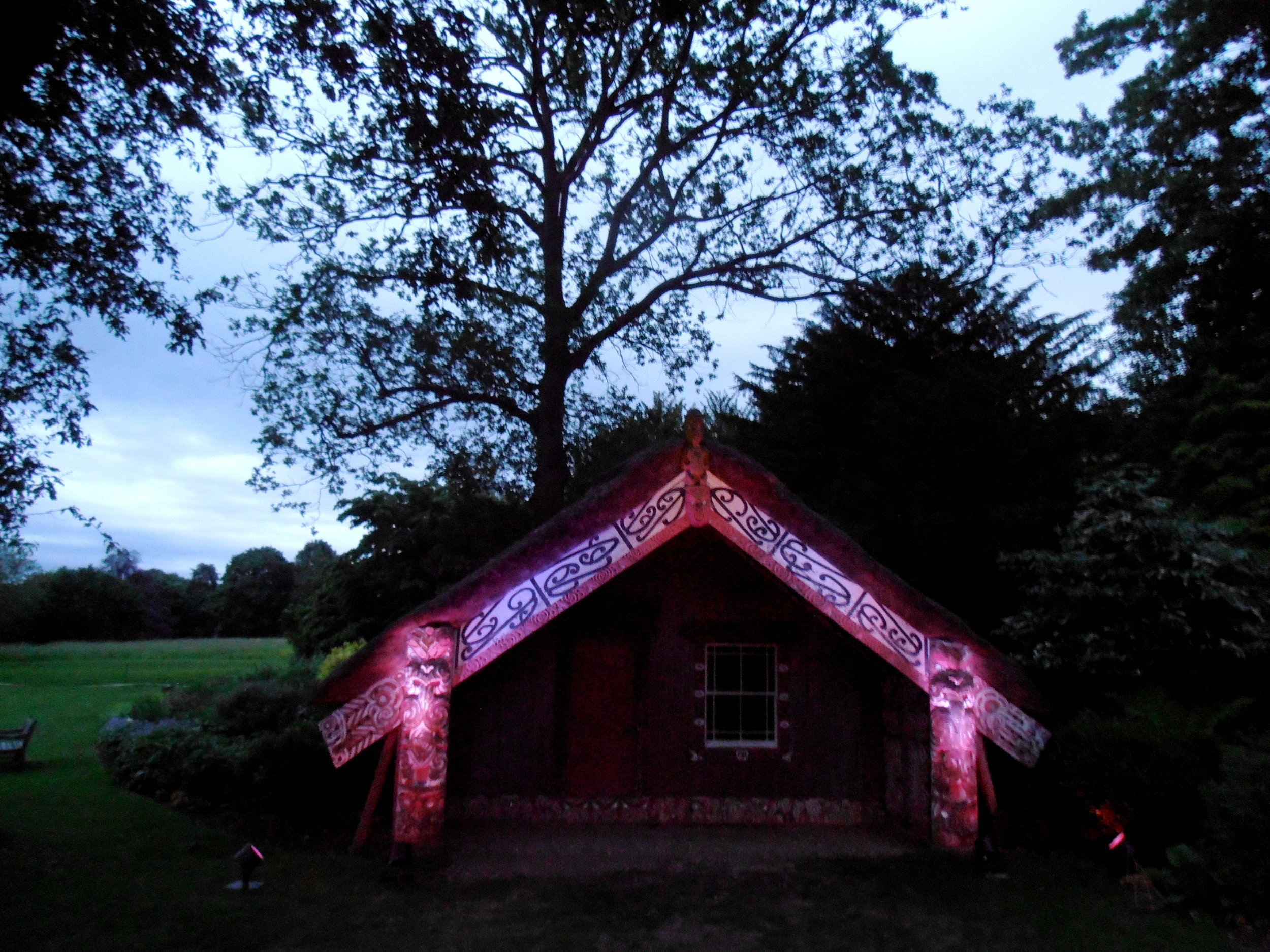 Light and sound installation at Hinemihi by Kura Puke and Stuart Foster, Massey University, New Zealand. 2014 Photo R. O'Callaghan
