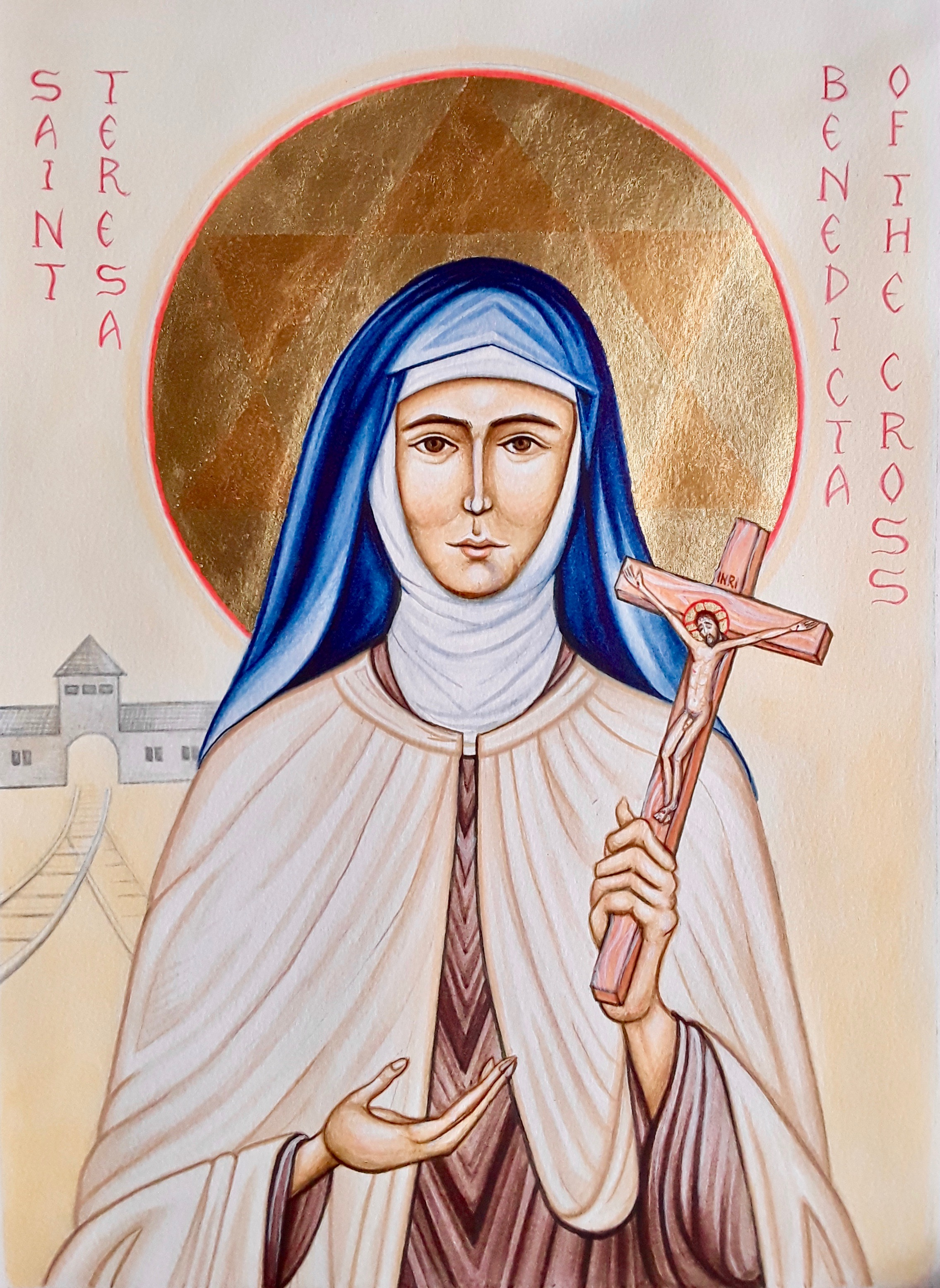 Saint Teresa Benedicta of the Cross.   Acrylics and gold leaf on water colour paper. 297 x 420 mm.   2019.