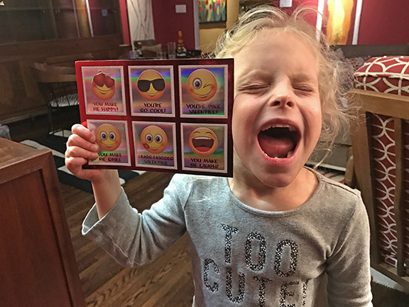 Roxie making her own emoji face