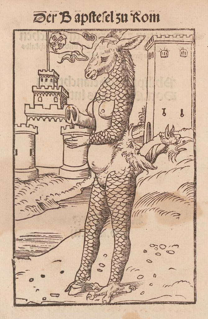 An earlier depiction of the Tiber monster by Lucas Cranach the Elder from 1523. Note the flag of the Papal States on the left tower, which is not present in the illustration from The Book of Miracles.