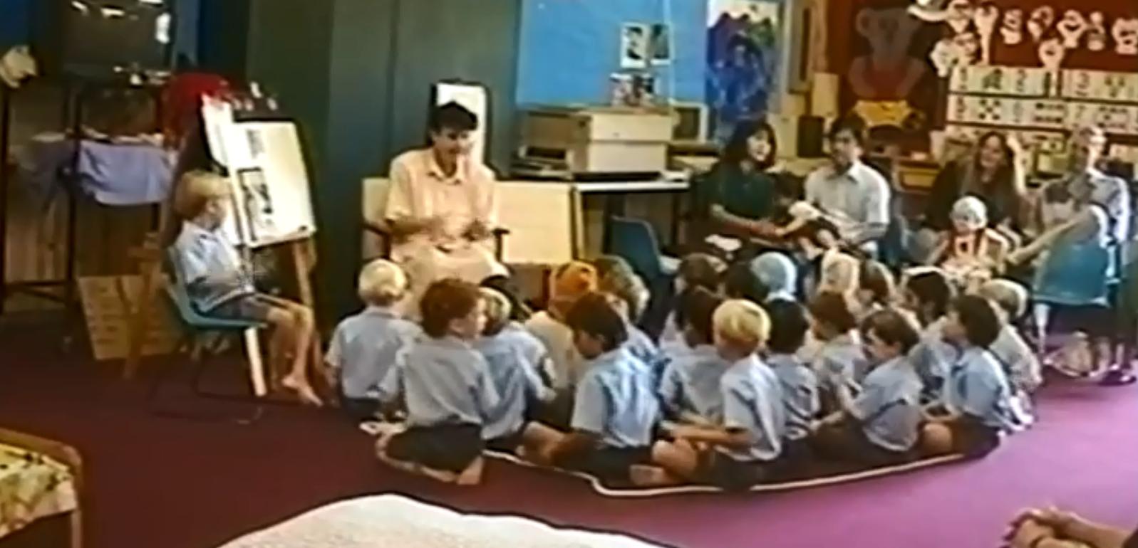 Marion Barter teaching children in her class.