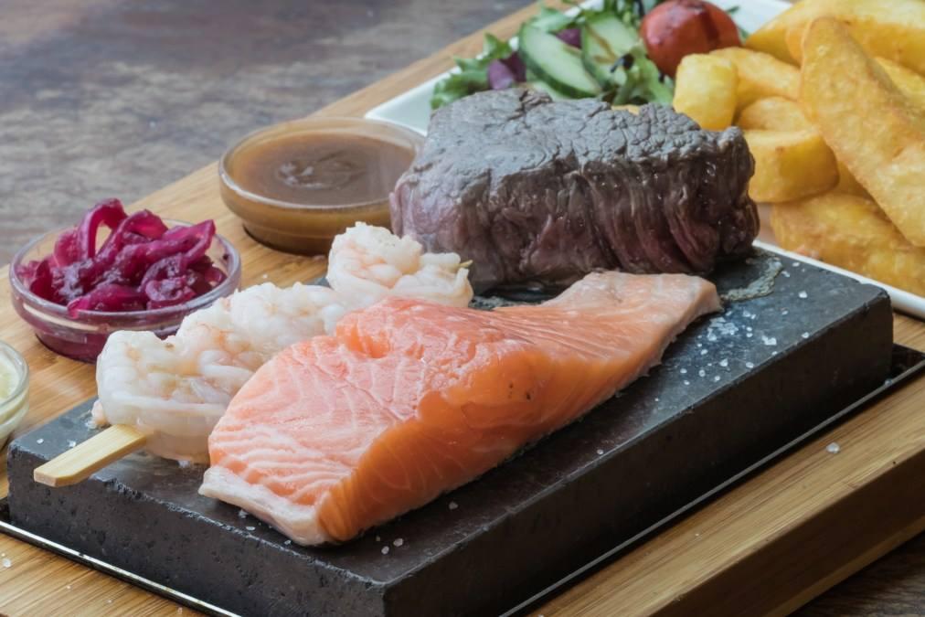 Bermi's Beachside Cafe steak salmon.jpg