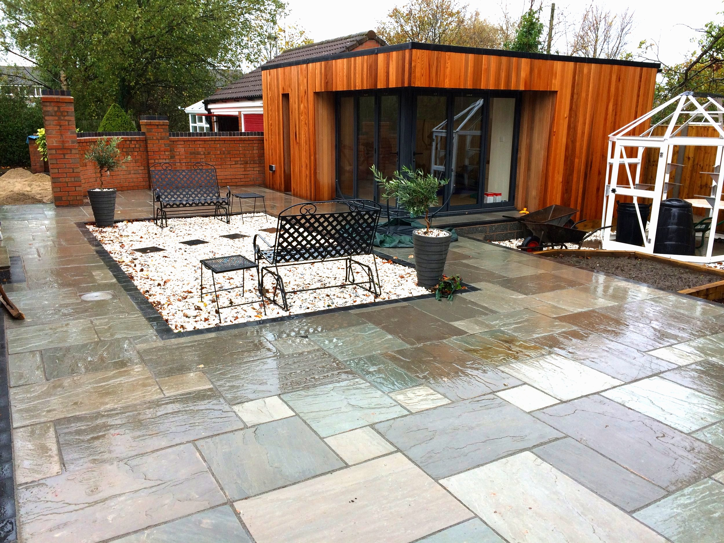 Patios - We understand the perfect home needs the perfect outdoor space. Creating beautiful designs with materials such as Indian stone, we can make any outdoor area a uniquely attractive space.