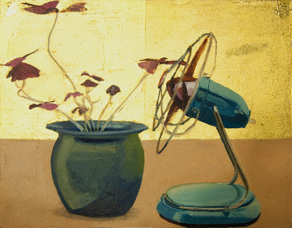 Oxalis becomes fan   Oil on board with gold leaf  2003  Dimensions H 18 W 23 cm