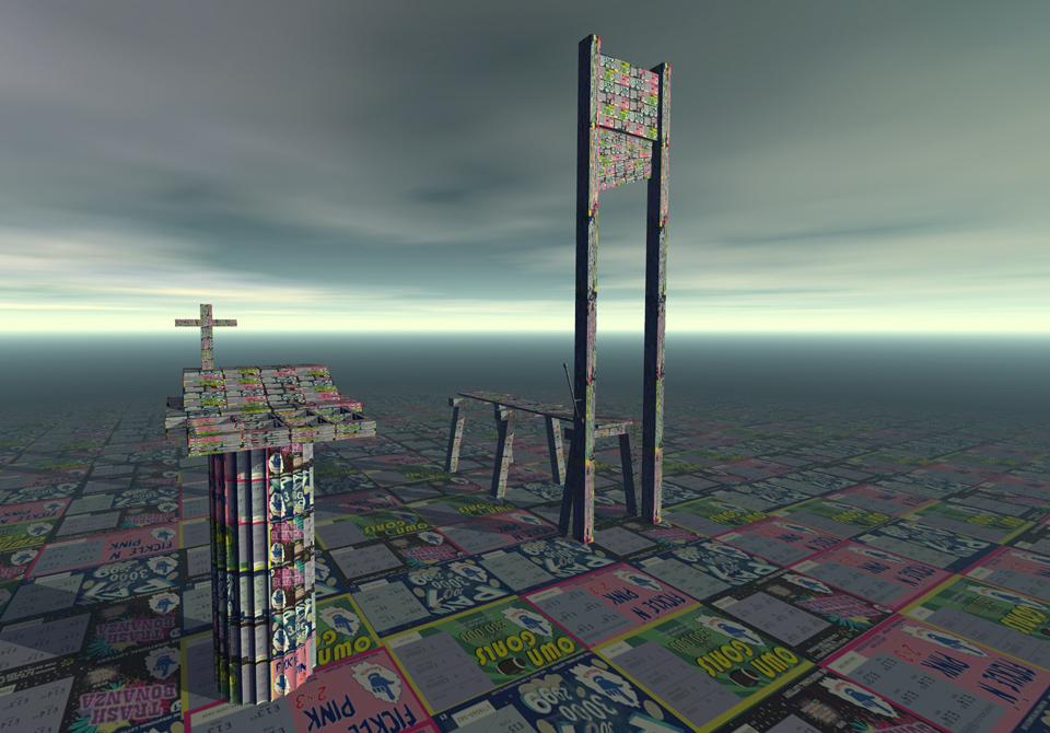 """""""Till cross guillotine"""", 1999, 3d Modelled image."""