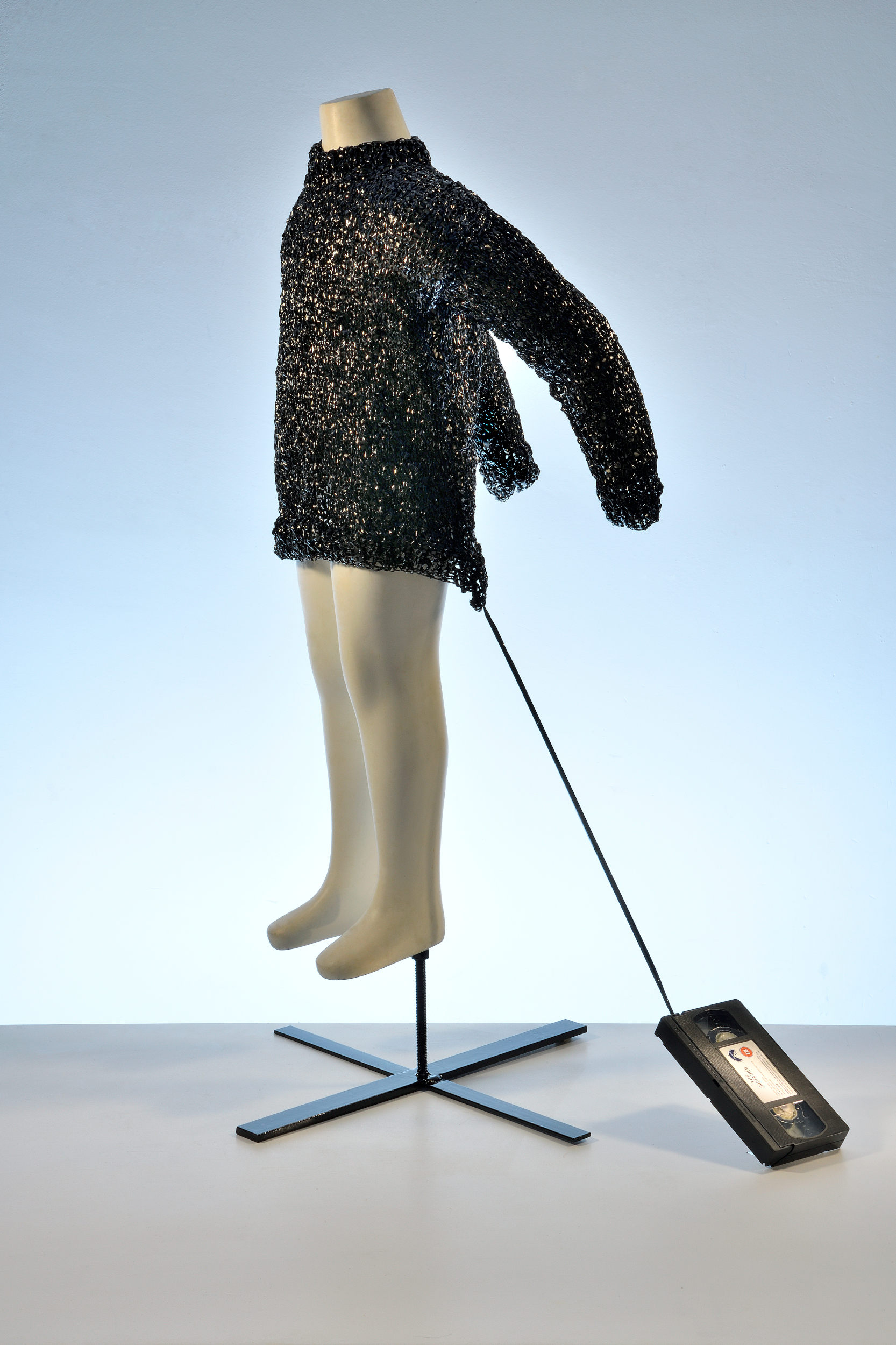 """""""Home philosophy, tape 2"""" 18 certificate Violence video tape knitted child's jumper, age 5 - 6.  2011  Dimensions 72cm x 55cm x 103cm"""