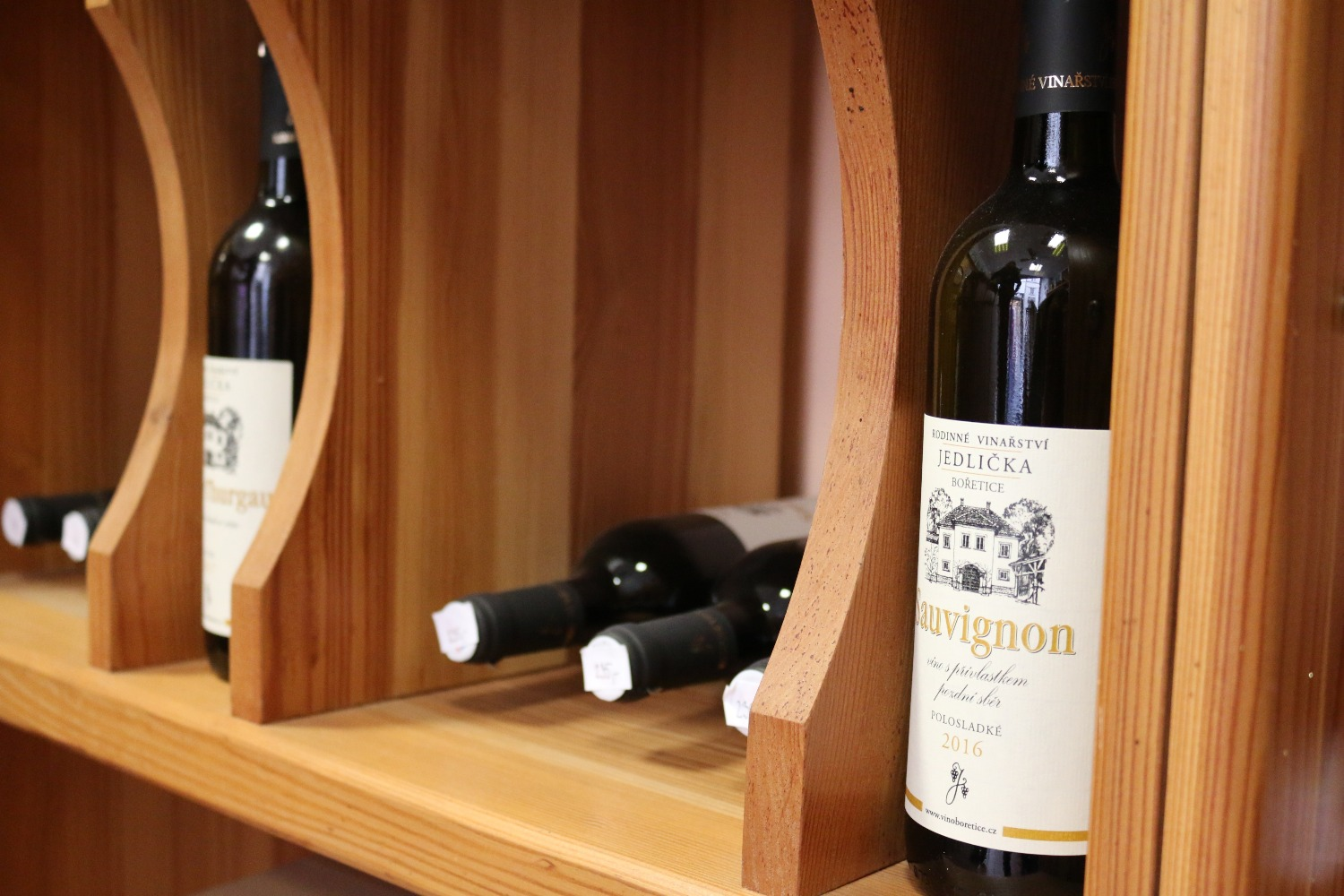 Vinoteka featuring wines exclusively from Jedlička winery