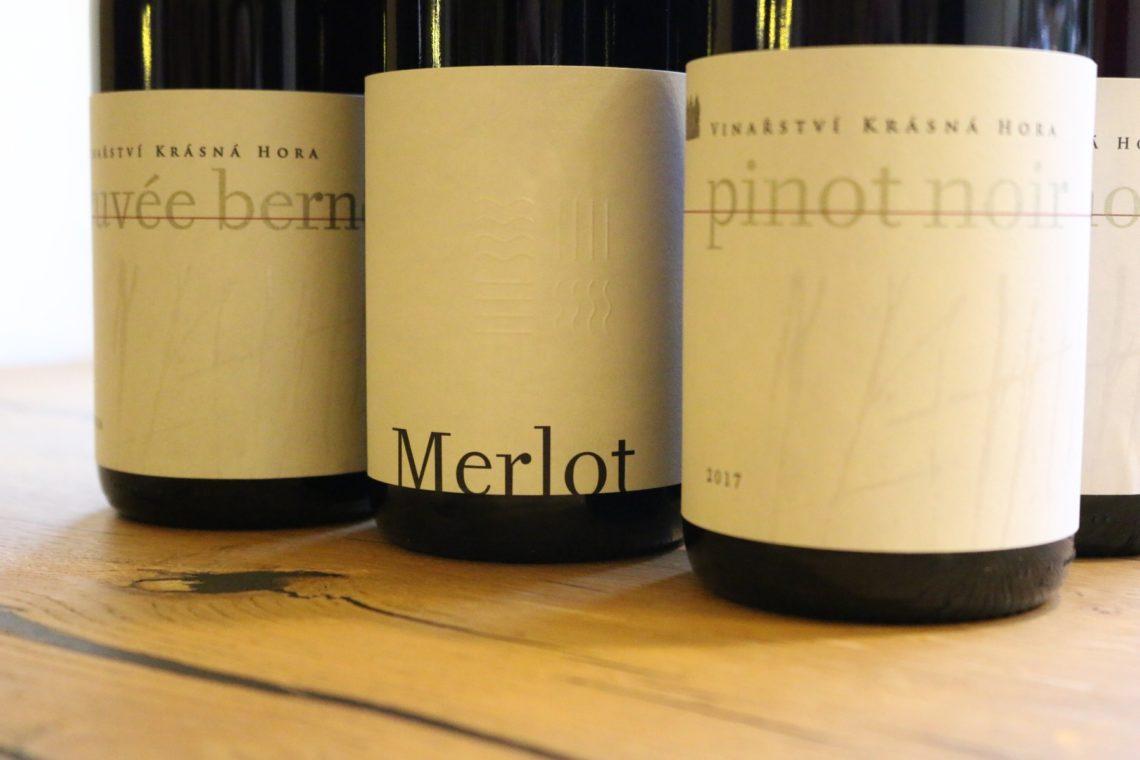 Modern wine labels found on Vinařství Krásná Hora wines
