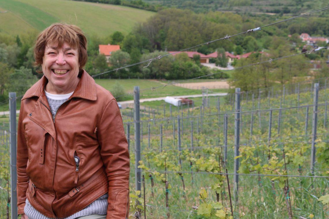 My mom enjoying the vineyard tour at Václav