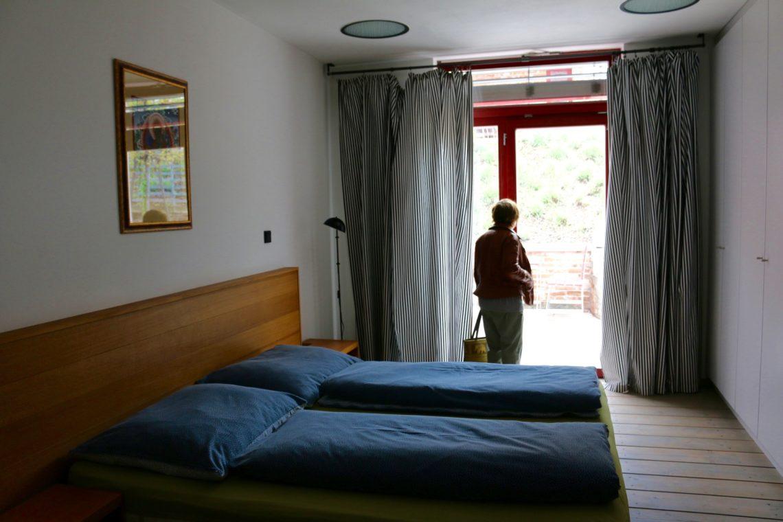 My mom enjoying the guest room at Vinařství Václav
