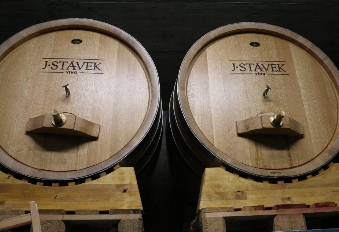 Barrel room at J. Stávek's Winery