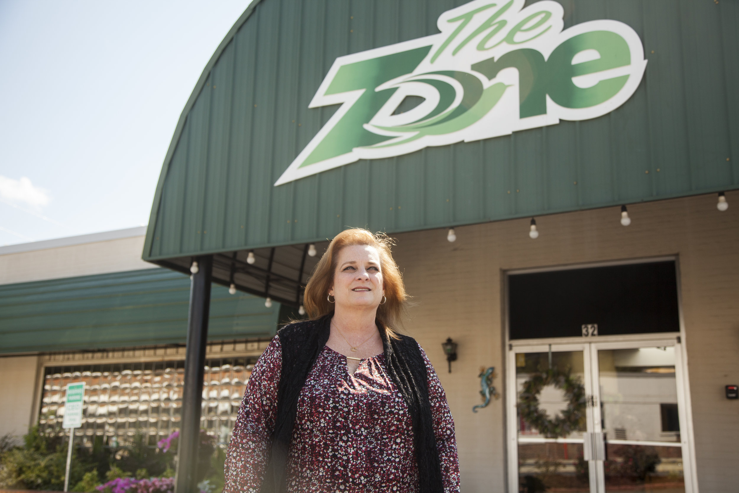 Missy Owen, executive director of the Davis Direction Foundation, poses for a portrait outside of The Zone, an operation to help those in recovery, in Marietta, Georgia, on Monday, June 25, 2018. Missy began work with this foundation after losing her own son to opioid addiction.